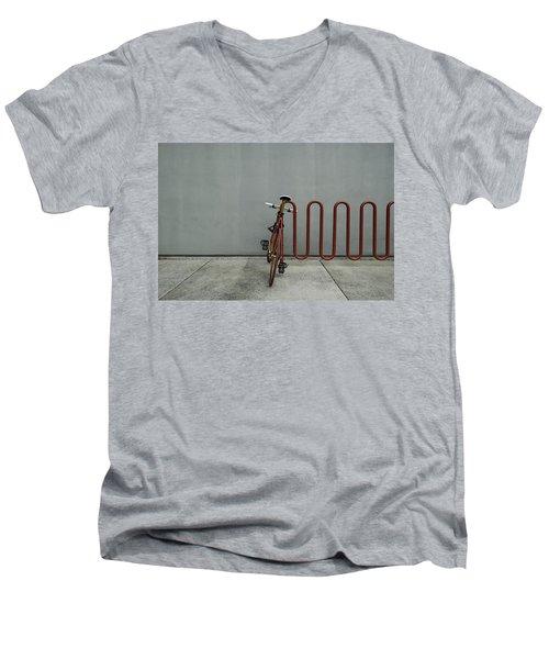 Curved Rack In Red - Urban Parking Stalls Men's V-Neck T-Shirt by Steven Milner