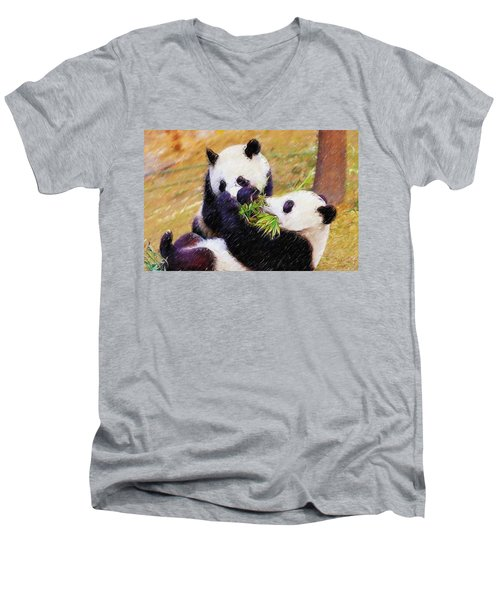 Cute Pandas Play Together Men's V-Neck T-Shirt by Lanjee Chee