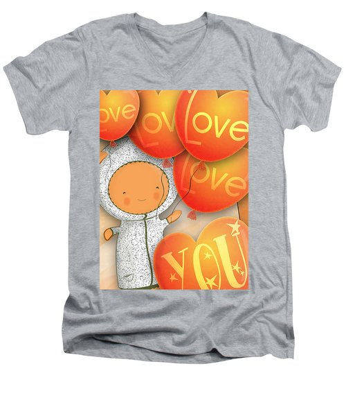 Men's V-Neck T-Shirt featuring the photograph Cute Teddy With Lots Of Love Balloons by Lenny Carter