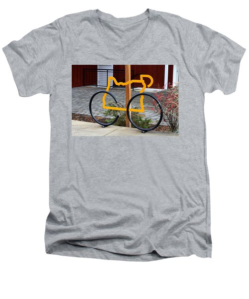 Cycle Oregon Men's V-Neck T-Shirt by Kevin Desrosiers