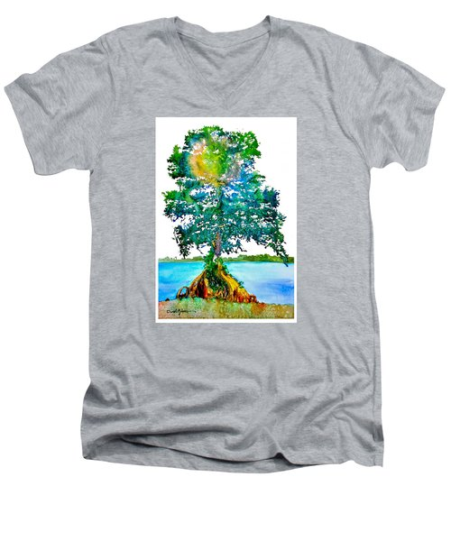 Da107 Cypress Tree Daniel Adams Men's V-Neck T-Shirt