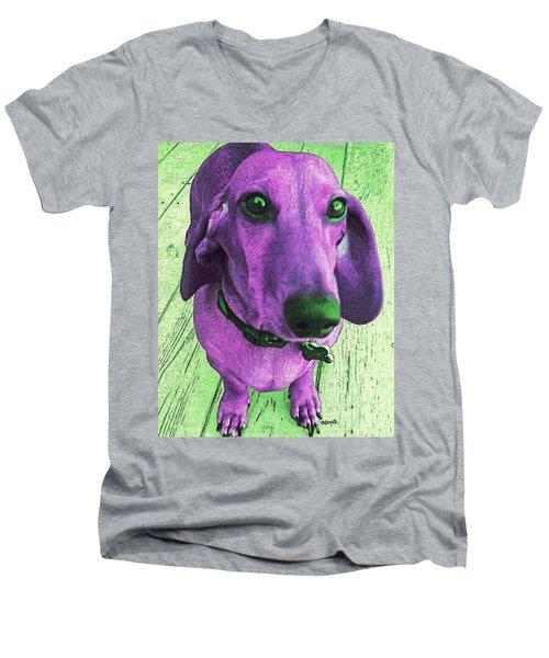 Dachshund - Purple People Greeter Men's V-Neck T-Shirt