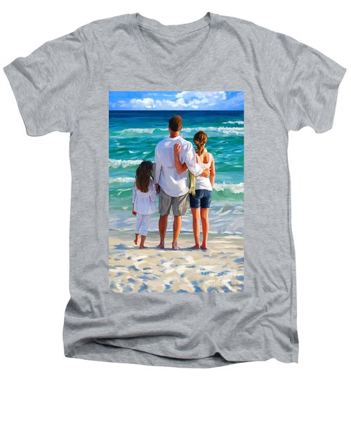 Dad And His Girls Men's V-Neck T-Shirt