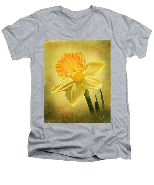 Men's V-Neck T-Shirt featuring the photograph Daffodil by Ann Lauwers