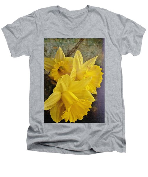 Men's V-Neck T-Shirt featuring the photograph Daffodil Burst by Diane Alexander