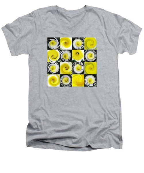 Daffodil Spring Mosaic Men's V-Neck T-Shirt by Sarah Loft