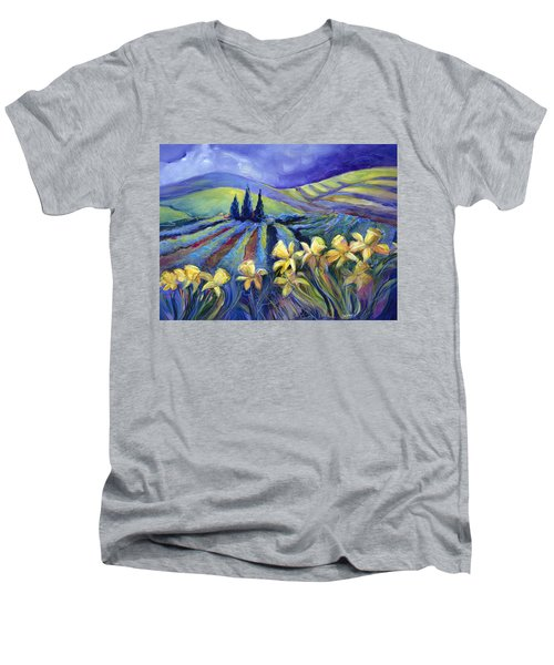 Daffodils And Stormclouds Men's V-Neck T-Shirt
