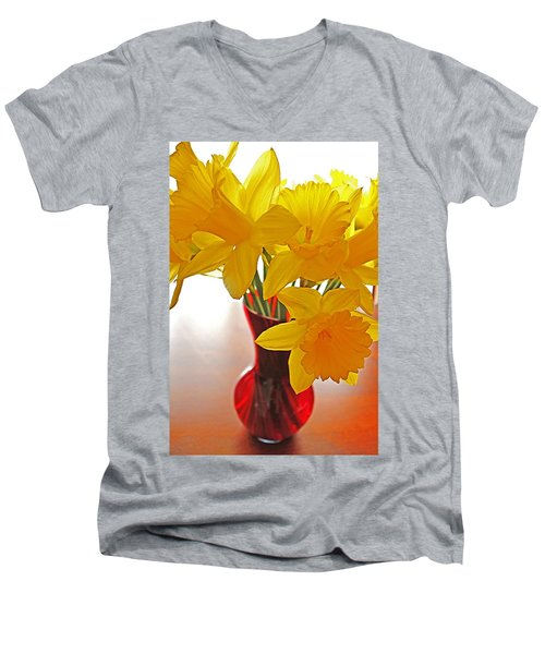 Men's V-Neck T-Shirt featuring the photograph Daffodils In Red Vase by Diane Alexander