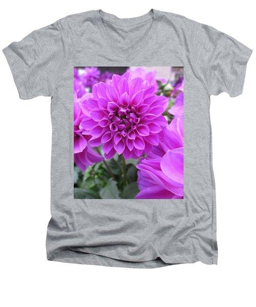 Dahlia In Pink Men's V-Neck T-Shirt