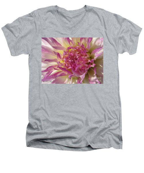 Men's V-Neck T-Shirt featuring the photograph Dahlia Named Angela Dodi by J McCombie