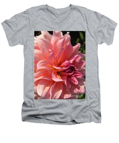 Men's V-Neck T-Shirt featuring the photograph Dahlia Named Fire Magic by J McCombie