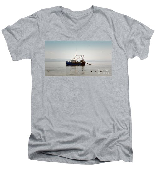 Daily Catch Men's V-Neck T-Shirt by Lynn Bolt