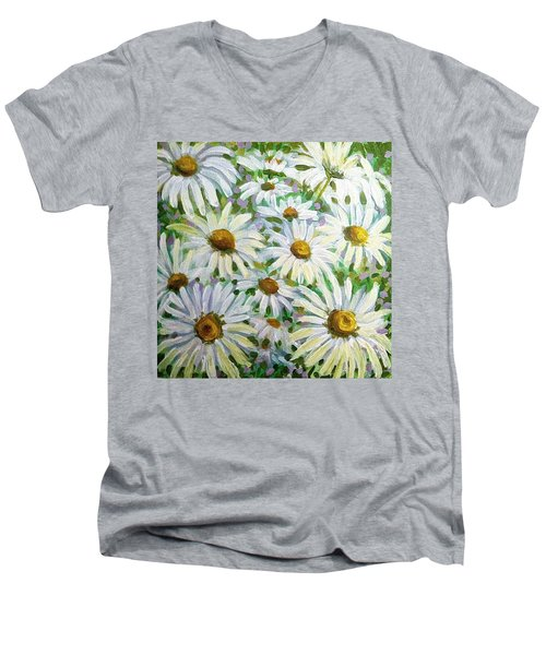 Daisies Men's V-Neck T-Shirt by Jeanette Jarmon