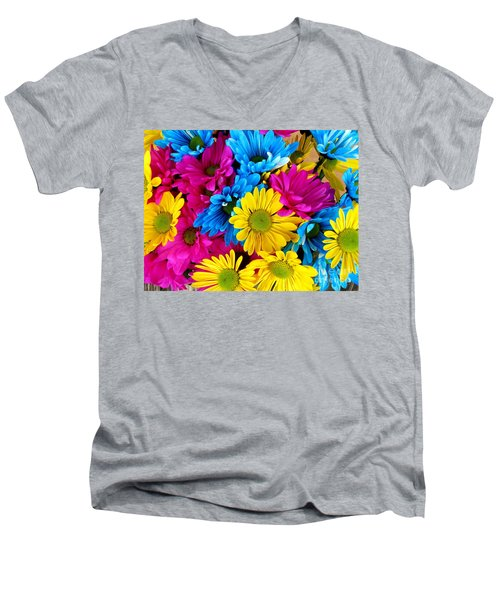 Men's V-Neck T-Shirt featuring the photograph Daisys Flowers Bloom Colorful Petals Nature by Paul Fearn