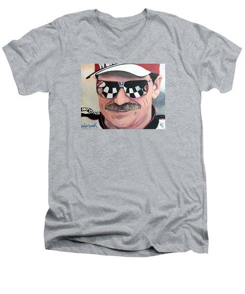 Dale Earnhardt Sr Men's V-Neck T-Shirt by Tom Carlton