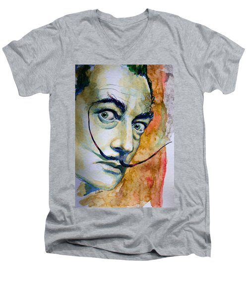 Men's V-Neck T-Shirt featuring the painting Dali by Laur Iduc