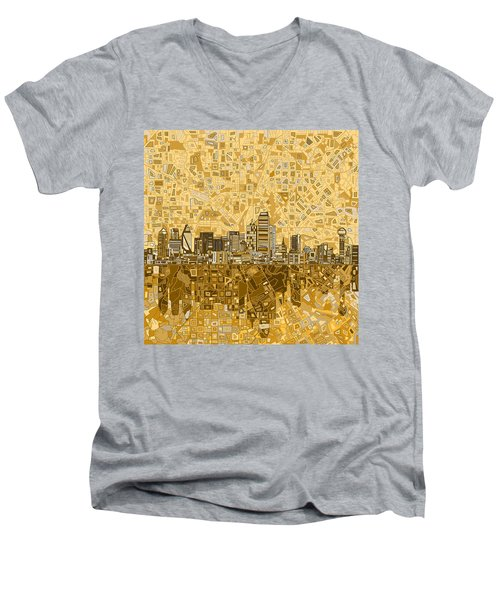 Dallas Skyline Abstract 6 Men's V-Neck T-Shirt