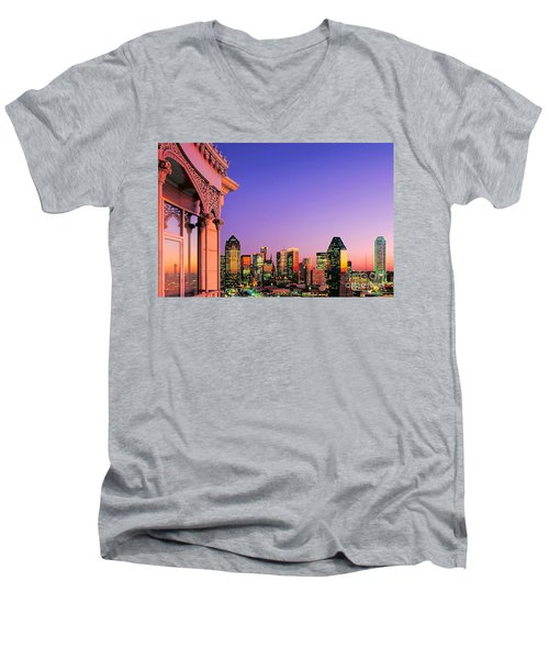 Men's V-Neck T-Shirt featuring the photograph Dallas Skyline At Dusk by David Perry Lawrence