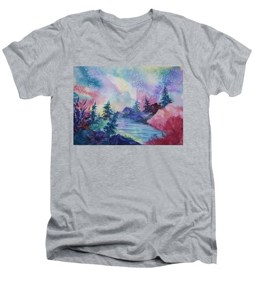 Dancing Lights II Men's V-Neck T-Shirt by Ellen Levinson
