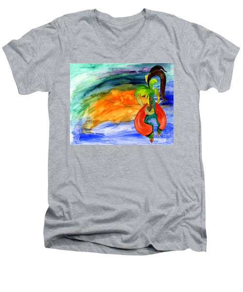 Men's V-Neck T-Shirt featuring the painting Dancing Tree Of Life by Mukta Gupta