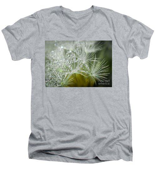 Dandelion Dew Men's V-Neck T-Shirt by Amy Porter