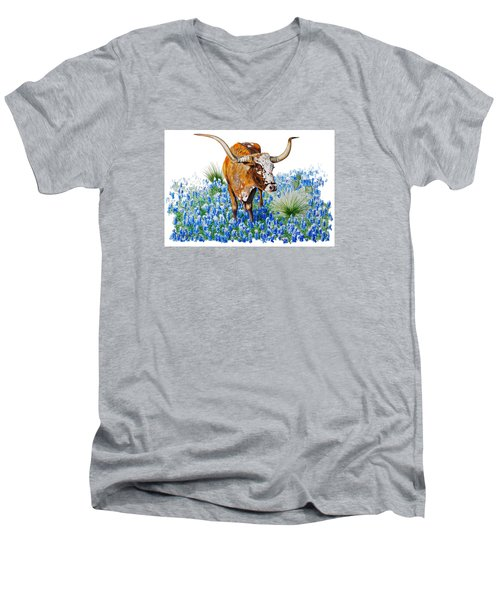 Da102 Longhorn And Bluebonnets Daniel Adams Men's V-Neck T-Shirt