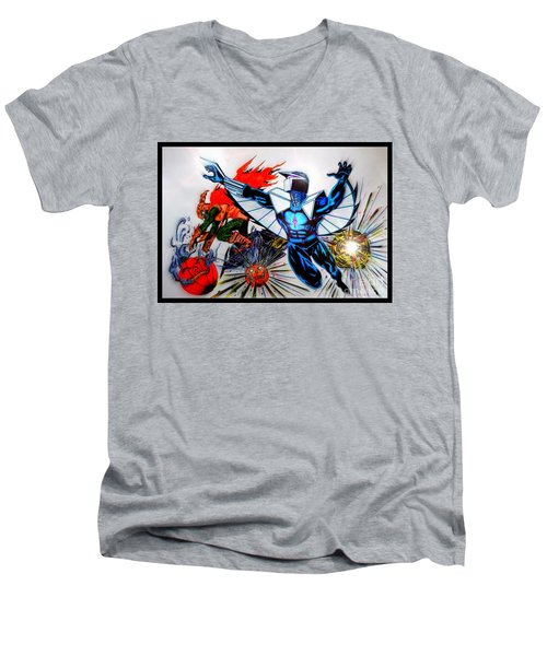 Men's V-Neck T-Shirt featuring the drawing Darkhawk Vs Hobgoblin Focused by Justin Moore