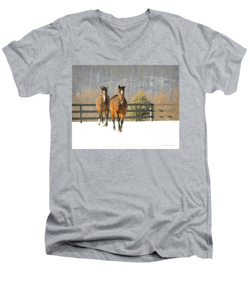 Dashing Through The Snow Men's V-Neck T-Shirt by Carol Lynn Coronios