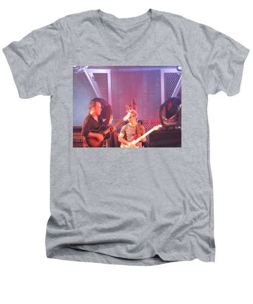 Men's V-Neck T-Shirt featuring the photograph Dave And Tim Jam On The Guitar by Aaron Martens