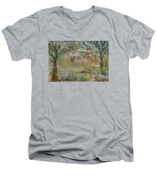 Men's V-Neck T-Shirt featuring the painting Dawn 2 by Mary Wolf