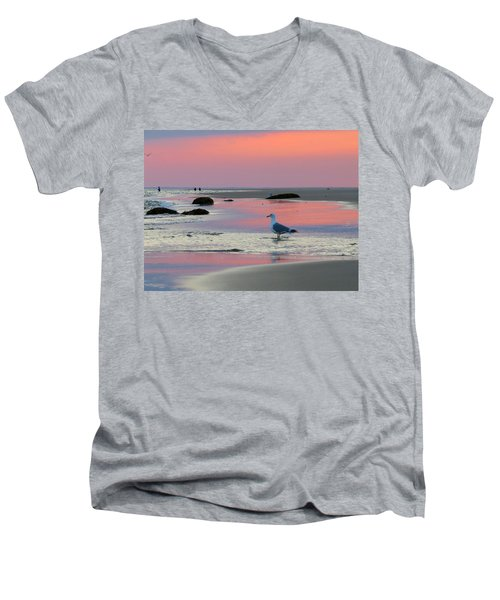 Men's V-Neck T-Shirt featuring the photograph Dawn In Pink by Dianne Cowen