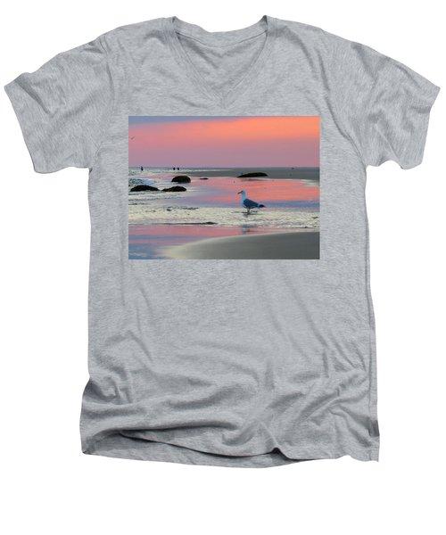 Dawn In Pink Men's V-Neck T-Shirt by Dianne Cowen