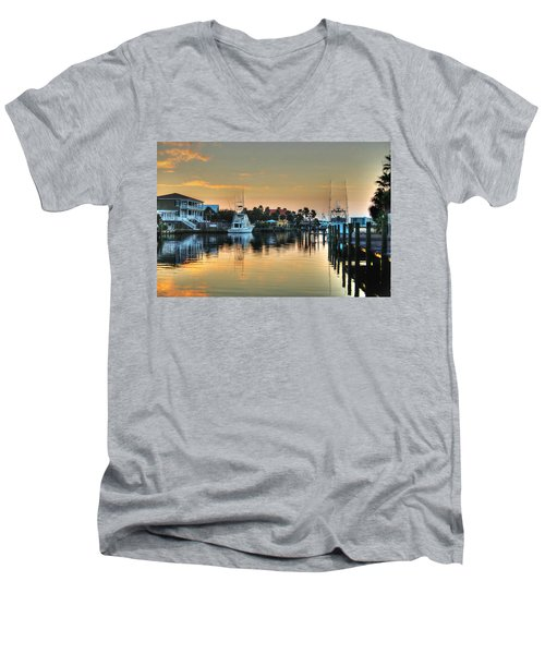 Men's V-Neck T-Shirt featuring the photograph Dawn On A Orange Beach Canal by Michael Thomas