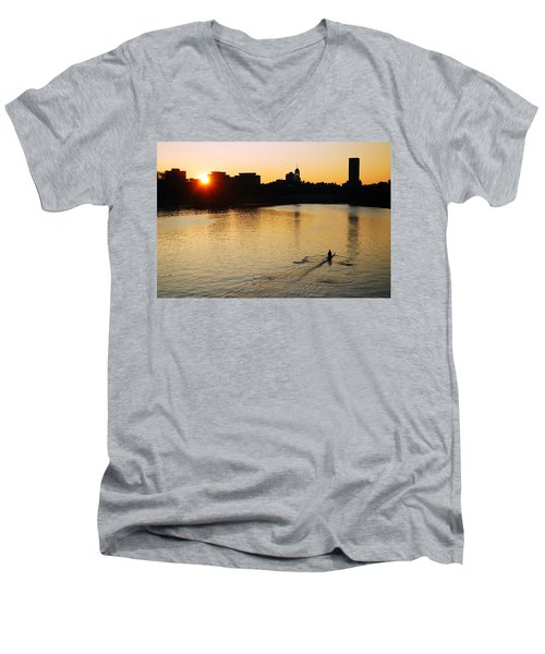 Dawn On The Charles Men's V-Neck T-Shirt by James Kirkikis