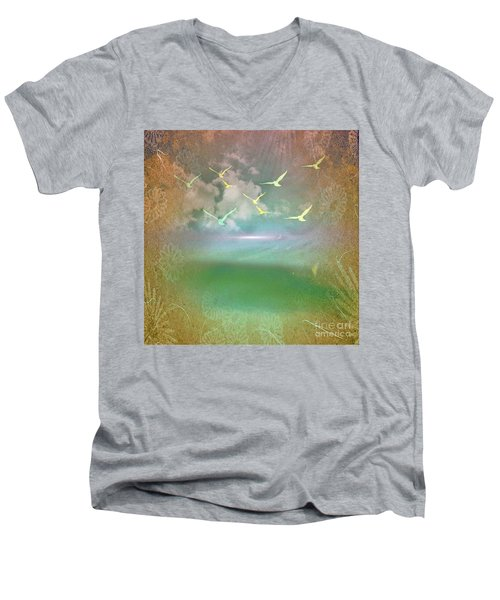Day At The Beach Abstract Men's V-Neck T-Shirt