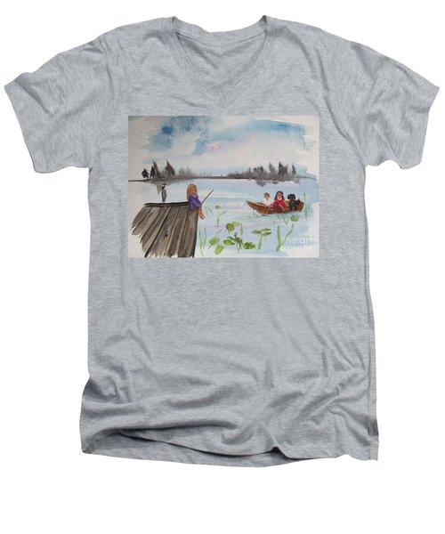 Day Of Fishing Men's V-Neck T-Shirt