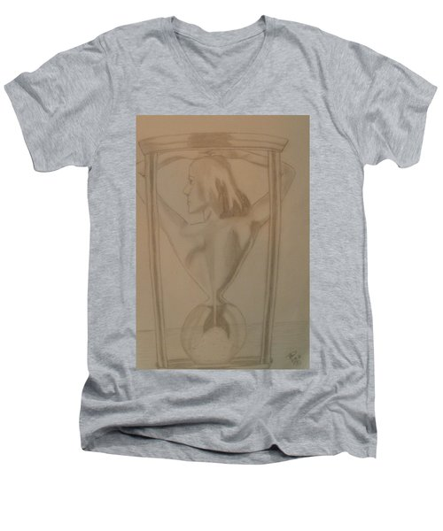 Men's V-Neck T-Shirt featuring the drawing Days Of Our Lives by Thomasina Durkay