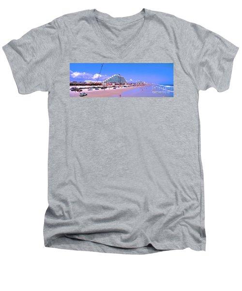 Men's V-Neck T-Shirt featuring the photograph Daytona Main Street Pier And Beach  by Tom Jelen