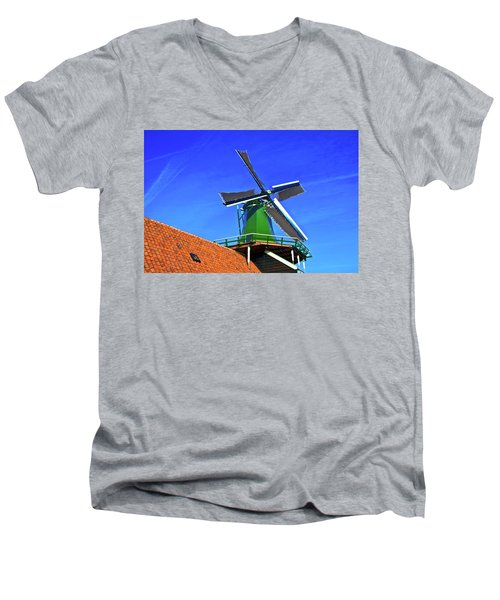 Men's V-Neck T-Shirt featuring the photograph De Huisman Spice Mill by Jonah  Anderson