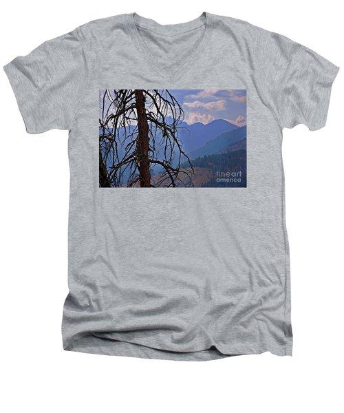 Men's V-Neck T-Shirt featuring the photograph Dead Tree Mountains Landscape by Valerie Garner