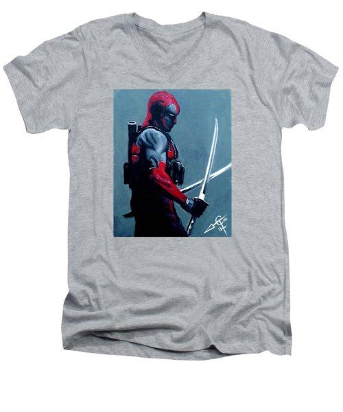 Deadpool Men's V-Neck T-Shirt by Tom Carlton