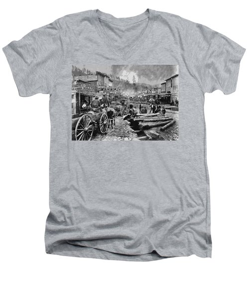 Deadwood South Dakota C. 1876 Men's V-Neck T-Shirt by Daniel Hagerman