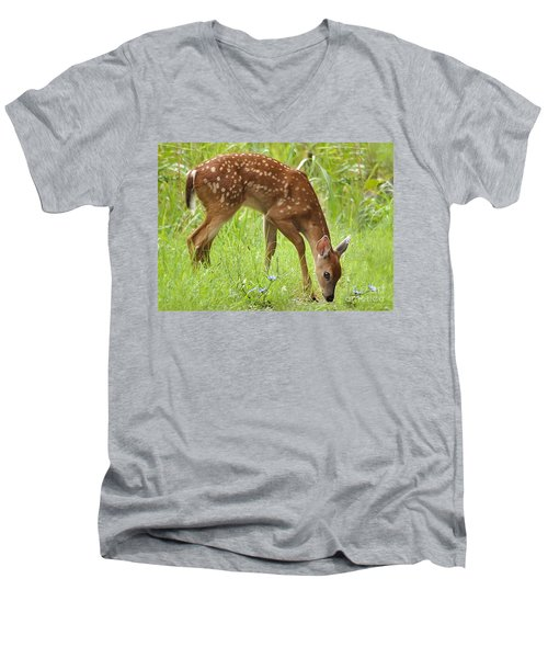 Men's V-Neck T-Shirt featuring the photograph Little Fawn Blue Wildflowers by Nava Thompson