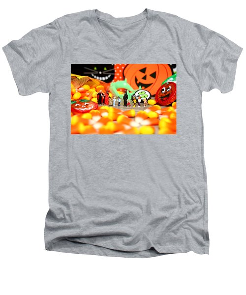 Death Takes His Kids Trick Or Treating Men's V-Neck T-Shirt by Lon Casler Bixby