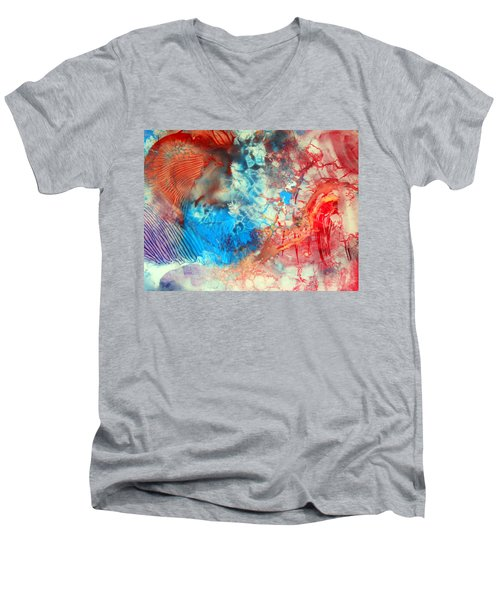 Men's V-Neck T-Shirt featuring the painting Decalcomaniac Colorfield Abstraction Without Number by Otto Rapp