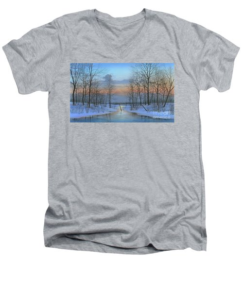 Men's V-Neck T-Shirt featuring the painting December Solitude by Mike Brown