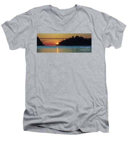 Deception Pass Bridge Sunset Men's V-Neck T-Shirt