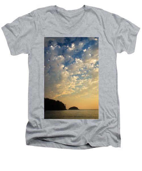 Deception Pass Men's V-Neck T-Shirt by Sonya Lang