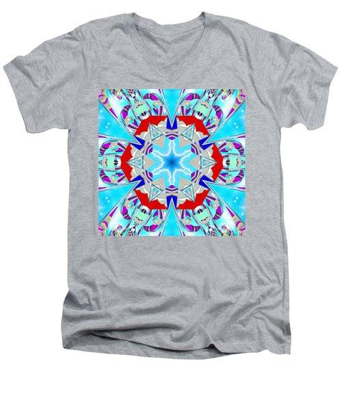 Deep Blue Geometry Men's V-Neck T-Shirt