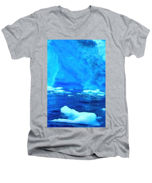 Men's V-Neck T-Shirt featuring the photograph Deep Blue Iceberg by Amanda Stadther